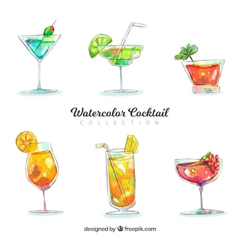 Watercolor cocktails collection