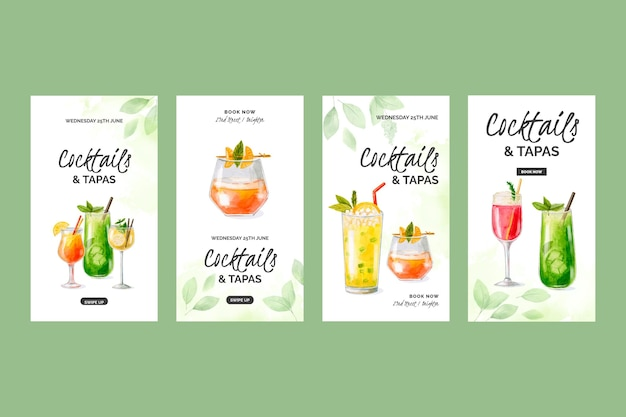 Watercolor cocktails instagram stories collection