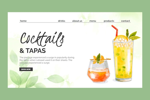Watercolor cocktails landing page template Free Vector