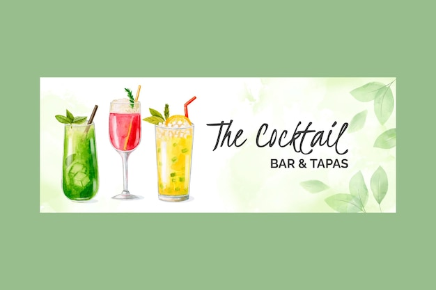 Watercolor cocktails social media cover template