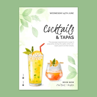 Watercolor cocktails vertical poster template