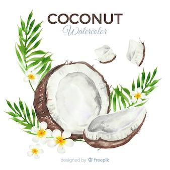 Акварельный кокосовый фон