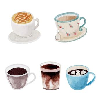 分離された白い背景の水彩コーヒーと飲料要素のコレクション