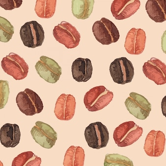 Watercolor coffee bean seamless pattern