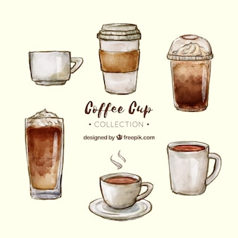 Watercolor coffee cup collection