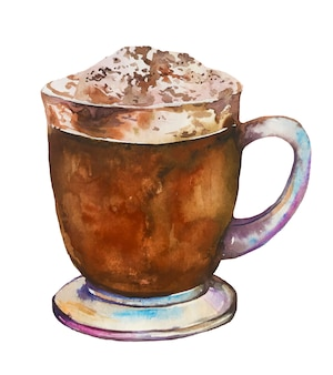 Watercolor coffee cup with mocha and cream.