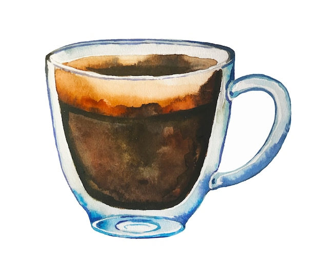 Watercolor coffee glass cup with espresso.