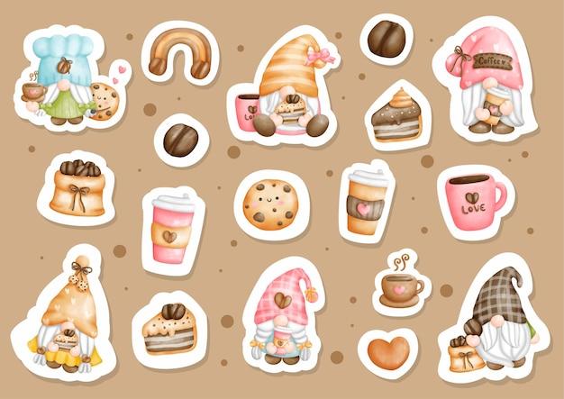 Watercolor coffee gnomes sticker