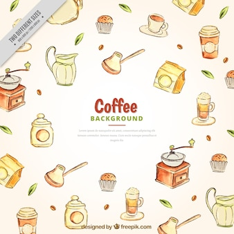 Watercolor coffee sketches background