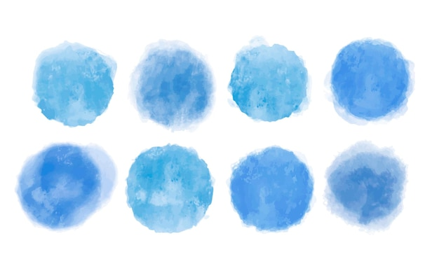 Watercolor collection of blue elements