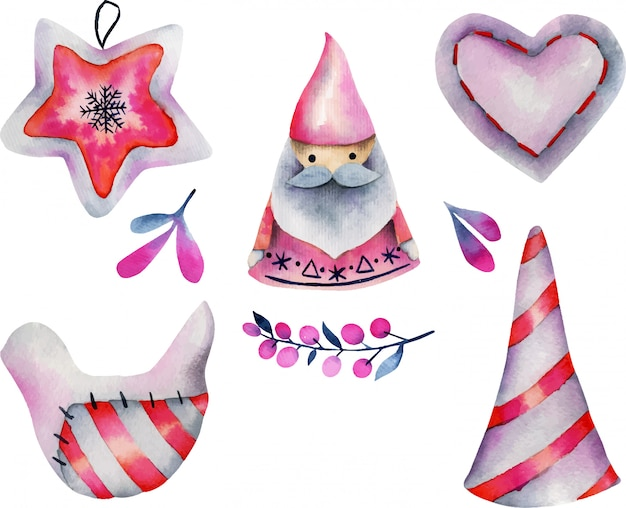 Watercolor collection of christmas decorations in scandinavian style
