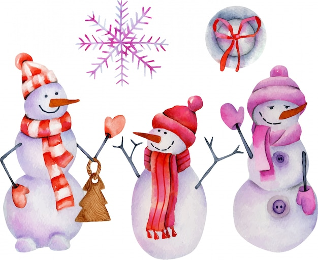 Watercolor collection of christmas snowmen and ornaments