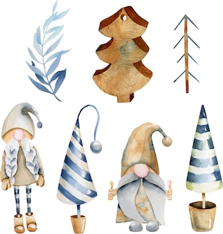 Watercolor collection of christmas tree toys and scandinavian elfs