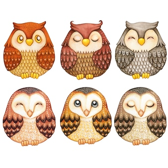 Watercolor collection of cute owls natural tones