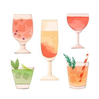 Watercolor collection of different cocktails
