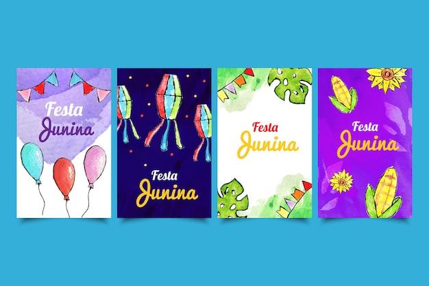 Watercolor collection of festa junina cards Free Vector