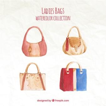 Collezione di borse acquerello signora