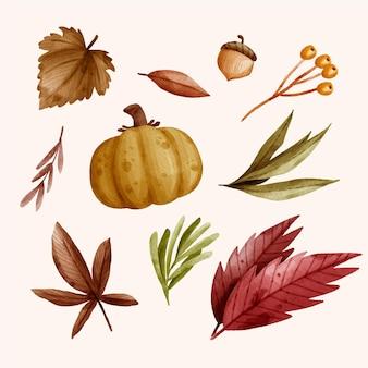 秋の要素の水彩画コレクション