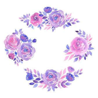 紫とピンクのバラ、小枝、葉の花束の水彩画コレクション
