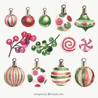 Watercolor collection of christmas decoration