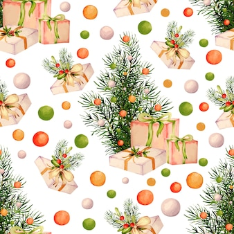 クリスマスパターンの水彩画コレクション