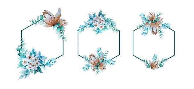 花とフレームの水彩画コレクション