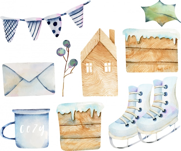 Watercolor collection of scandinavian christmas items