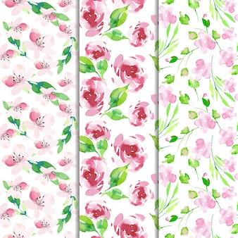Watercolor collection of spring patterns