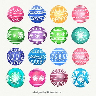 Watercolor colored baubles