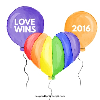 Watercolor colorful balloons pride background