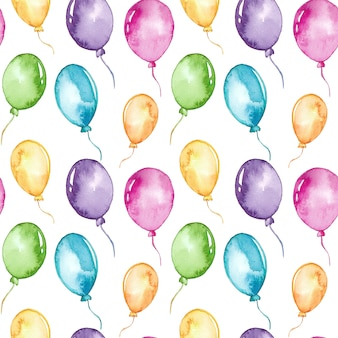 Watercolor colorful balloons seamless pattern