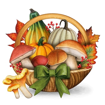 Watercolor colorful basket with mushrooms pimpkins and fall leaves