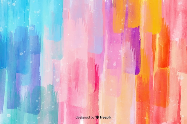 Watercolor colorful brush strokes background