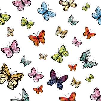 Watercolor colorful butterflies collection