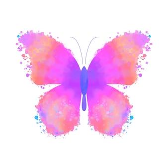 白い背景で隔離の水彩カラフルな蝶。