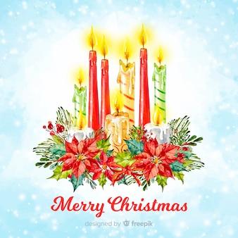 Акварель красочные свечи рождественские фон