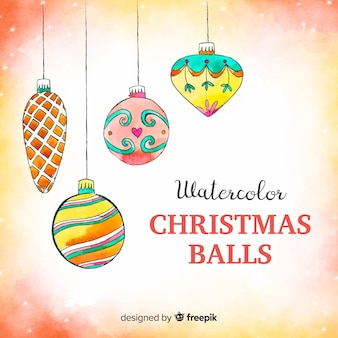 Watercolor colorful christmas balls background