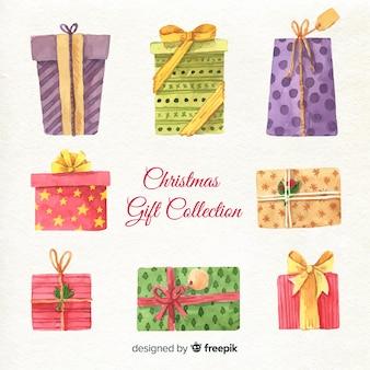 Коллекция акварельных красочных рождественских подарочных коробок