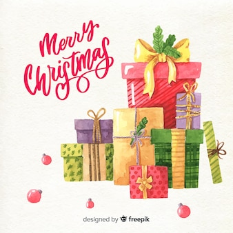 Watercolor colorful christmas gift boxes collection