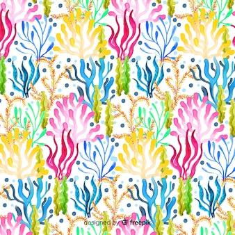 수채화 화려한 산호 배경