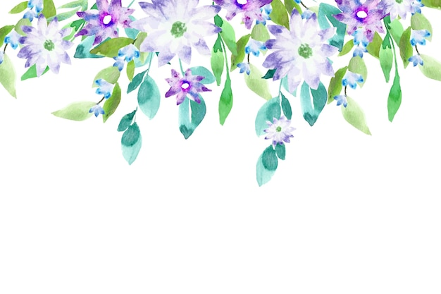 Watercolor colorful floral background concept