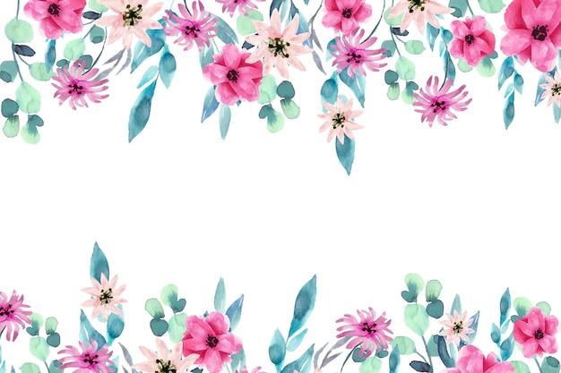 水彩のカラフルな花の背景のテーマ