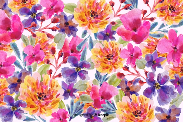 Watercolor colorful floral background