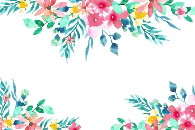 수채화 화려한 꽃 배경