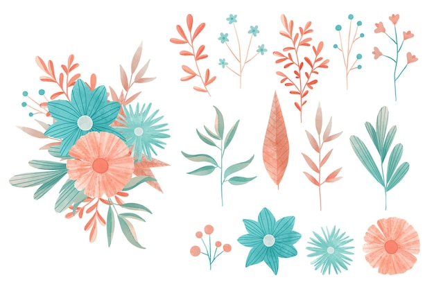 Watercolor colorful floral elements set