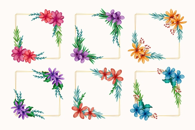Watercolor colorful floral frame collection