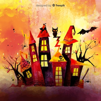 Watercolor colorful halloween background
