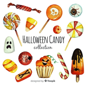 Watercolor of colorful halloween candy collection