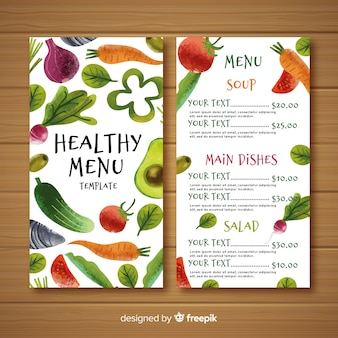 Watercolor colorful healthy food menu