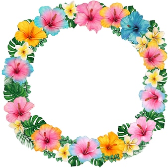 Watercolor colorful hibiscus and frangipani tropical wreath
